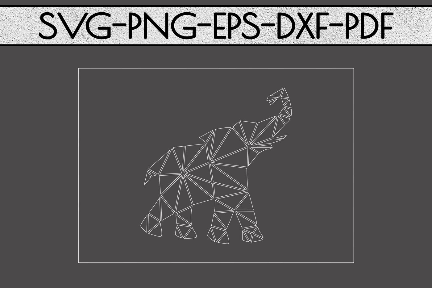 Geometric Elephant Card Svg Cutting File Nursery Papercut Dxf Pdf By Mulia Designs Thehungryjpeg Com