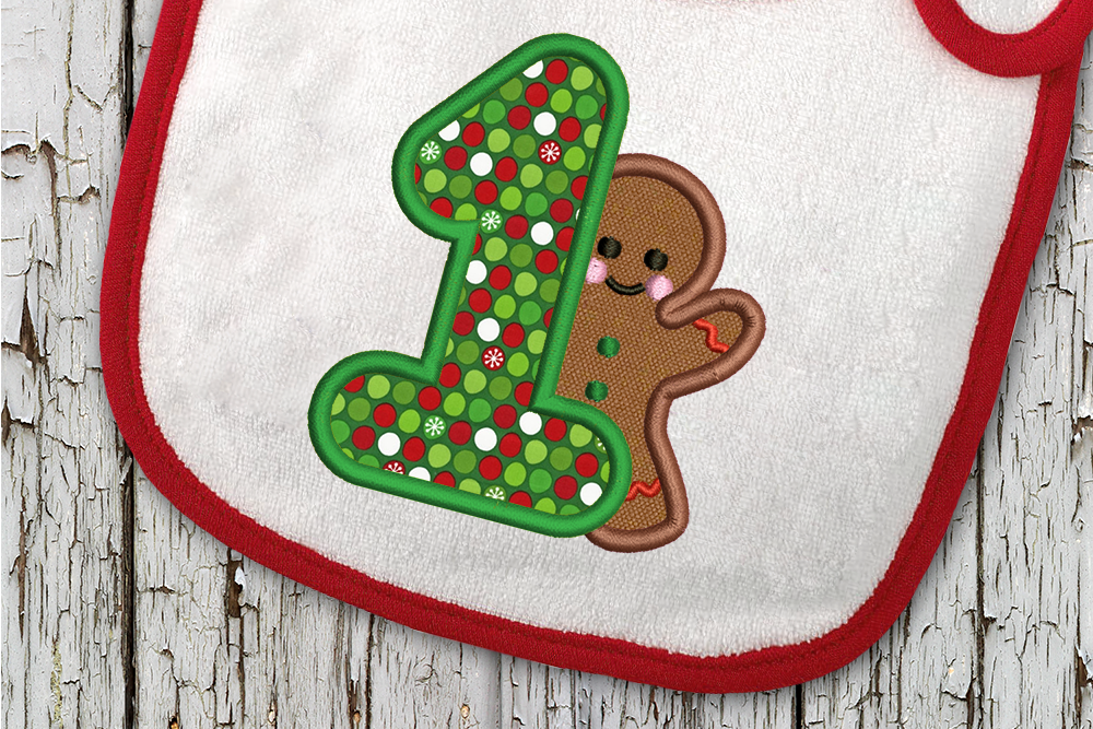 First Christmas Gingerbread Man Applique Embroidery By Designed