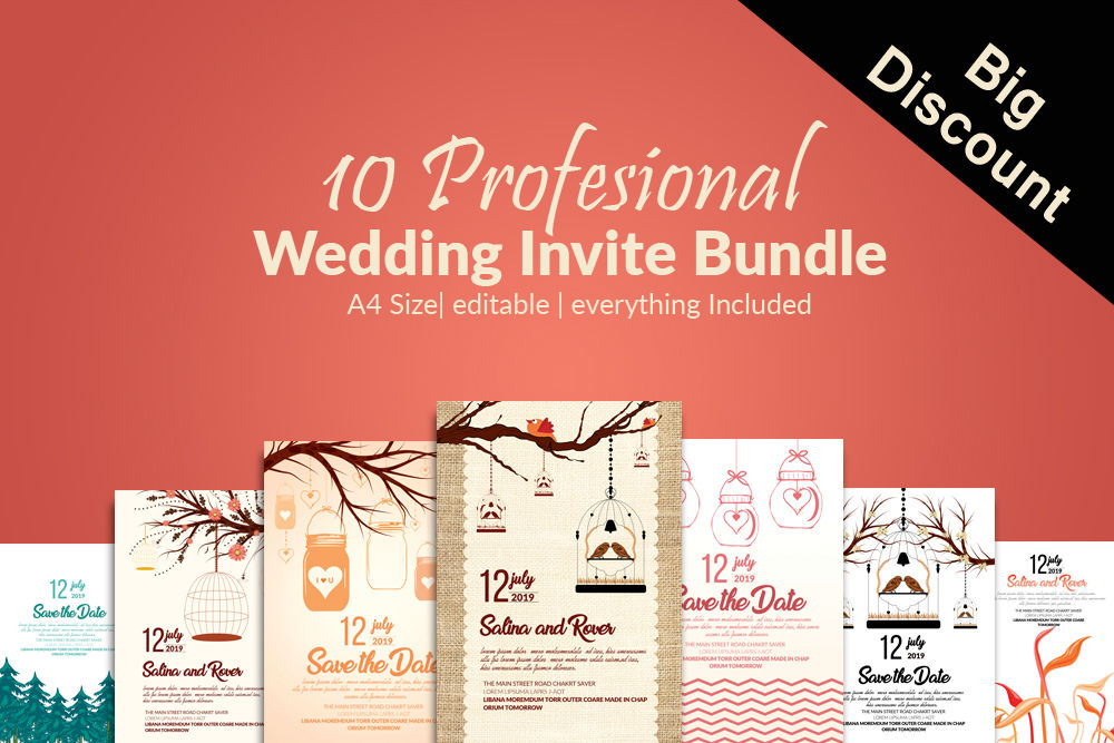 10 Wedding Invitation Cards Bundle By Designhub Thehungryjpeg Com