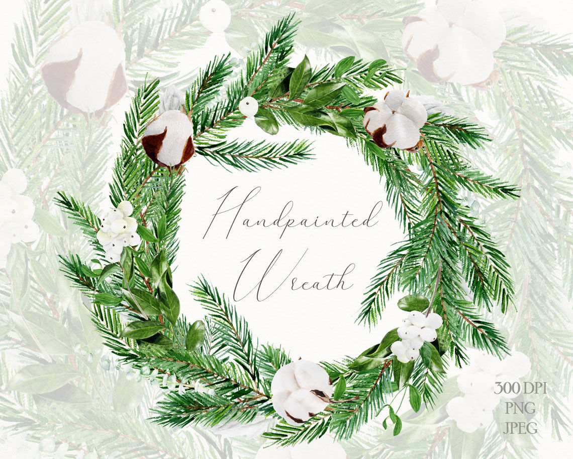 Watercolor Christmas Wreath Png.Watercolor Christmas Wreath By Mylittlemeow Thehungryjpeg Com
