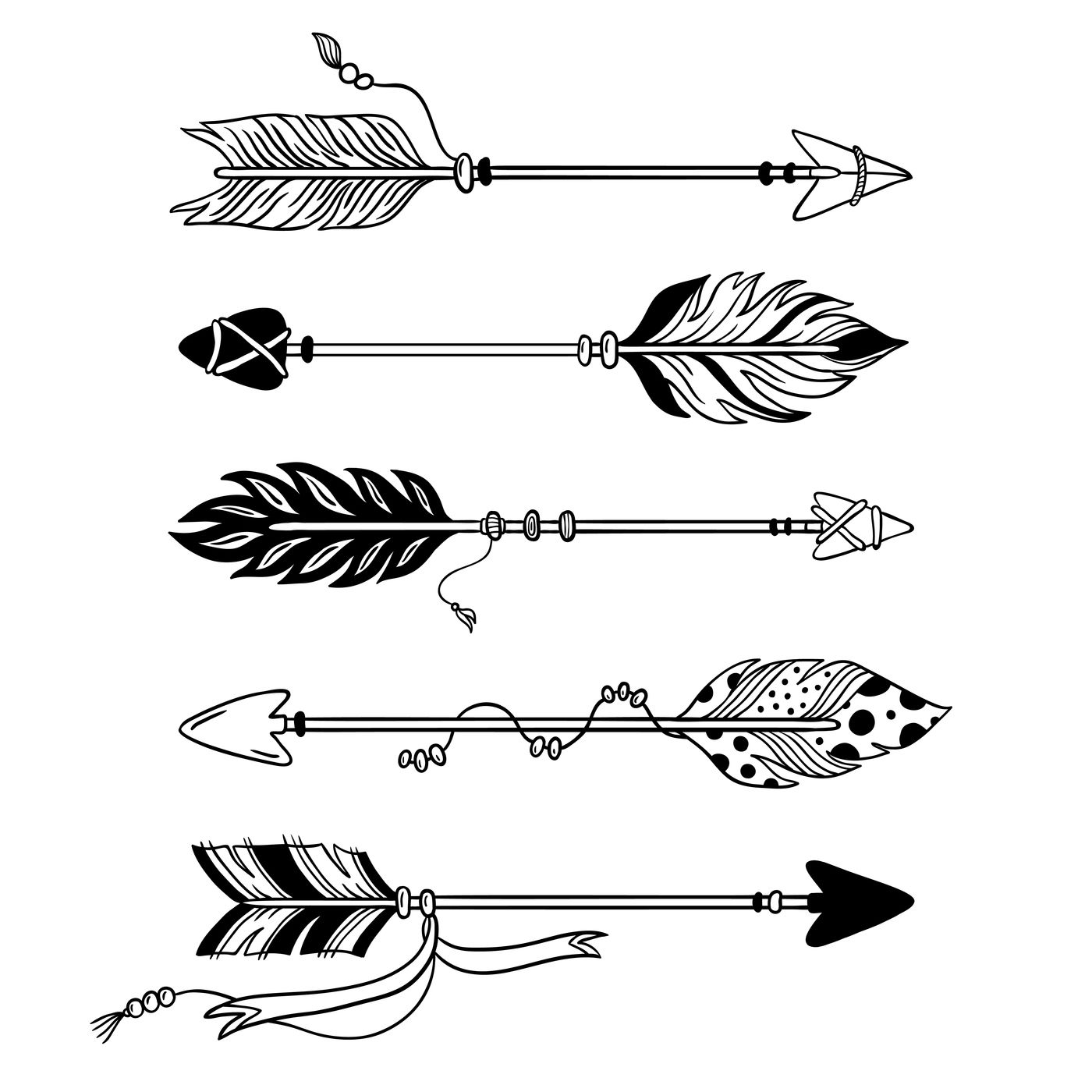Ethnic Arrows Hand Drawn Feather Arrow Tribal Feathers On