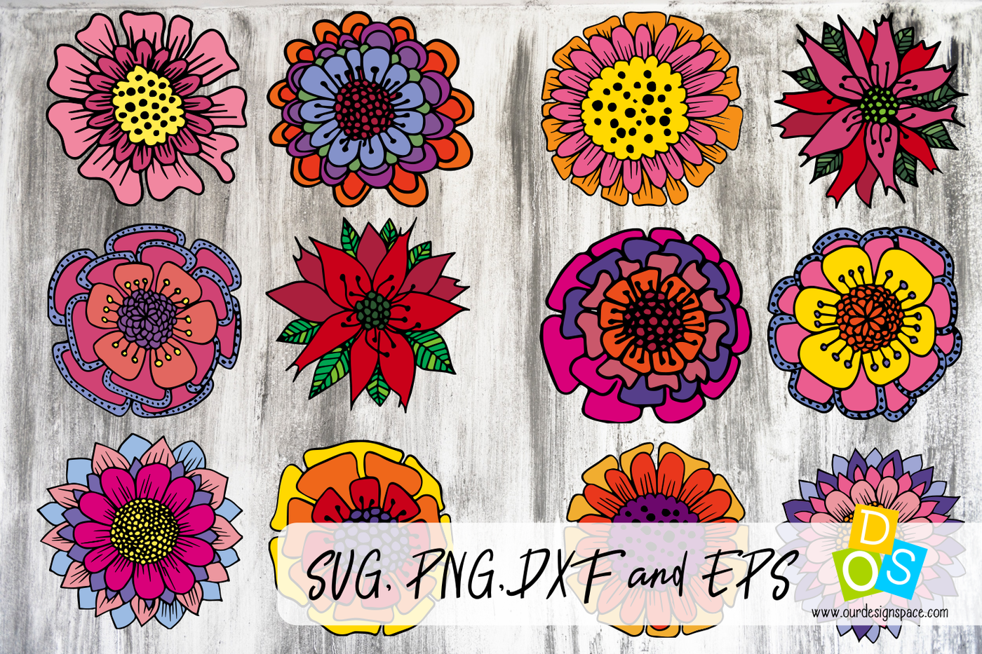 12 Doodle Christmas Flowers Svg Png Dxf And Eps Files By Our