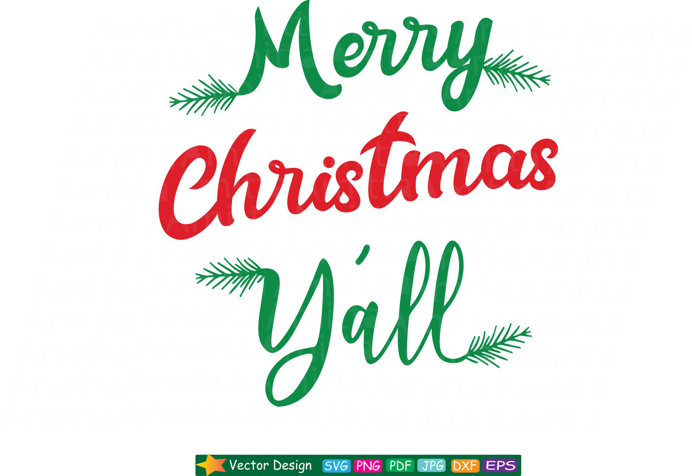Merry Christmas Y All Svg Cut File By Amittaart Thehungryjpeg Com
