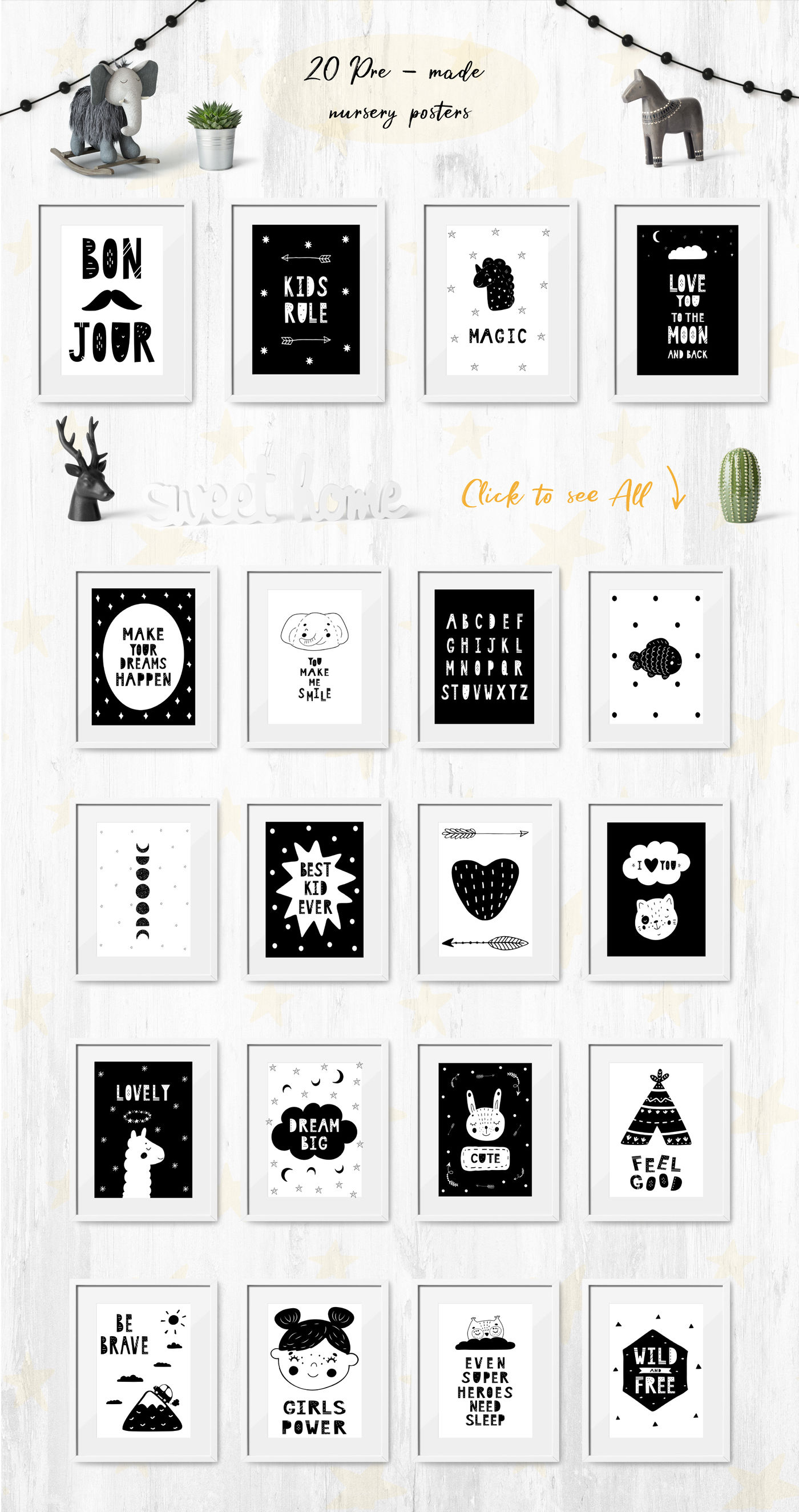 Scandi Monochrome For Kids By Allure Art Thehungryjpeg Com