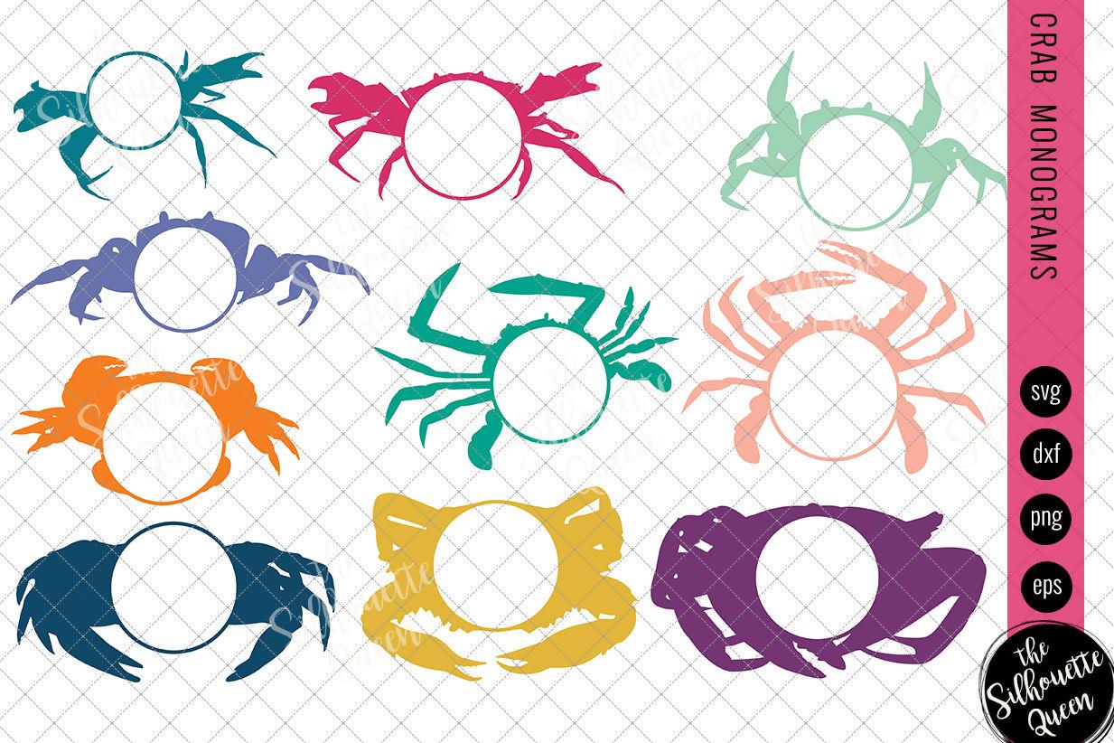 Crab Svg Monogram Svg Circle Frames Cuttable Design Nautical