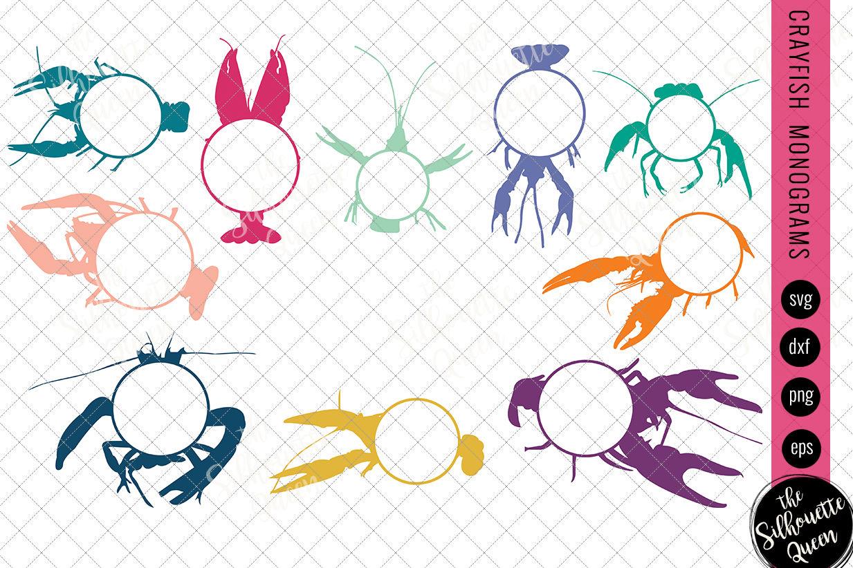 Crayfish Svg Monogram Svg Circle Frames Cuttable Design Cut