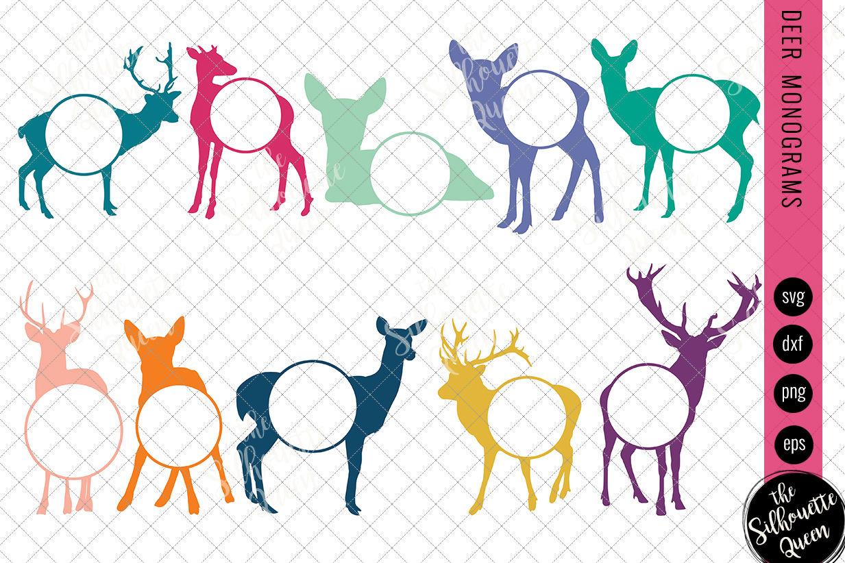 Deer Svg Monogram Svg Circle Frames Cuttable Design Cut Files