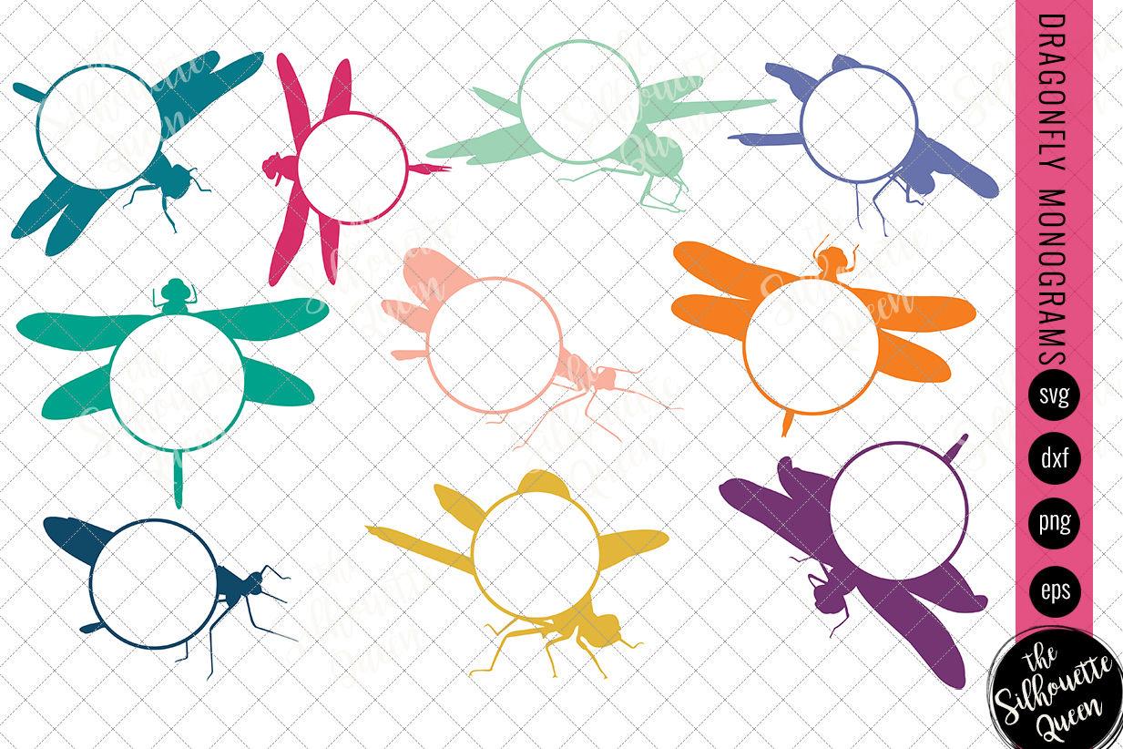Dragonfly Svg Monogram Svg Circle Frames Cuttable Design Cut