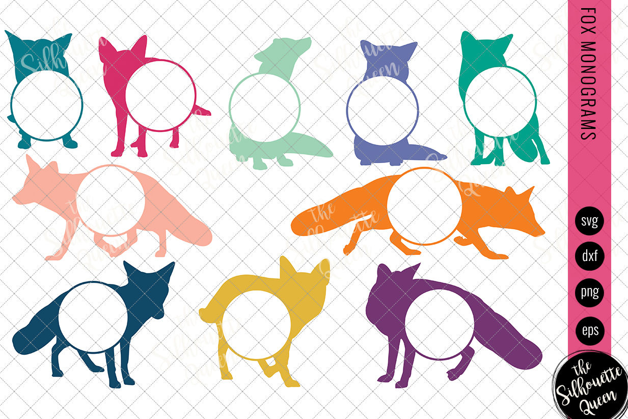 Fox Svg Monogram Svg Circle Frames Cuttable Design Cut Files