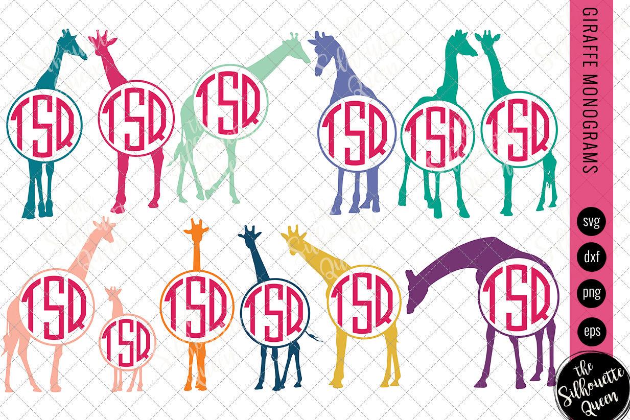 Giraffe Svg Monogram Svg Circle Frames Cuttable Design Cut