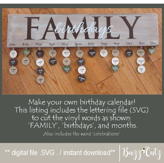 Family Birthday Calendar By Buzzcutz Designs Thehungryjpeg Com