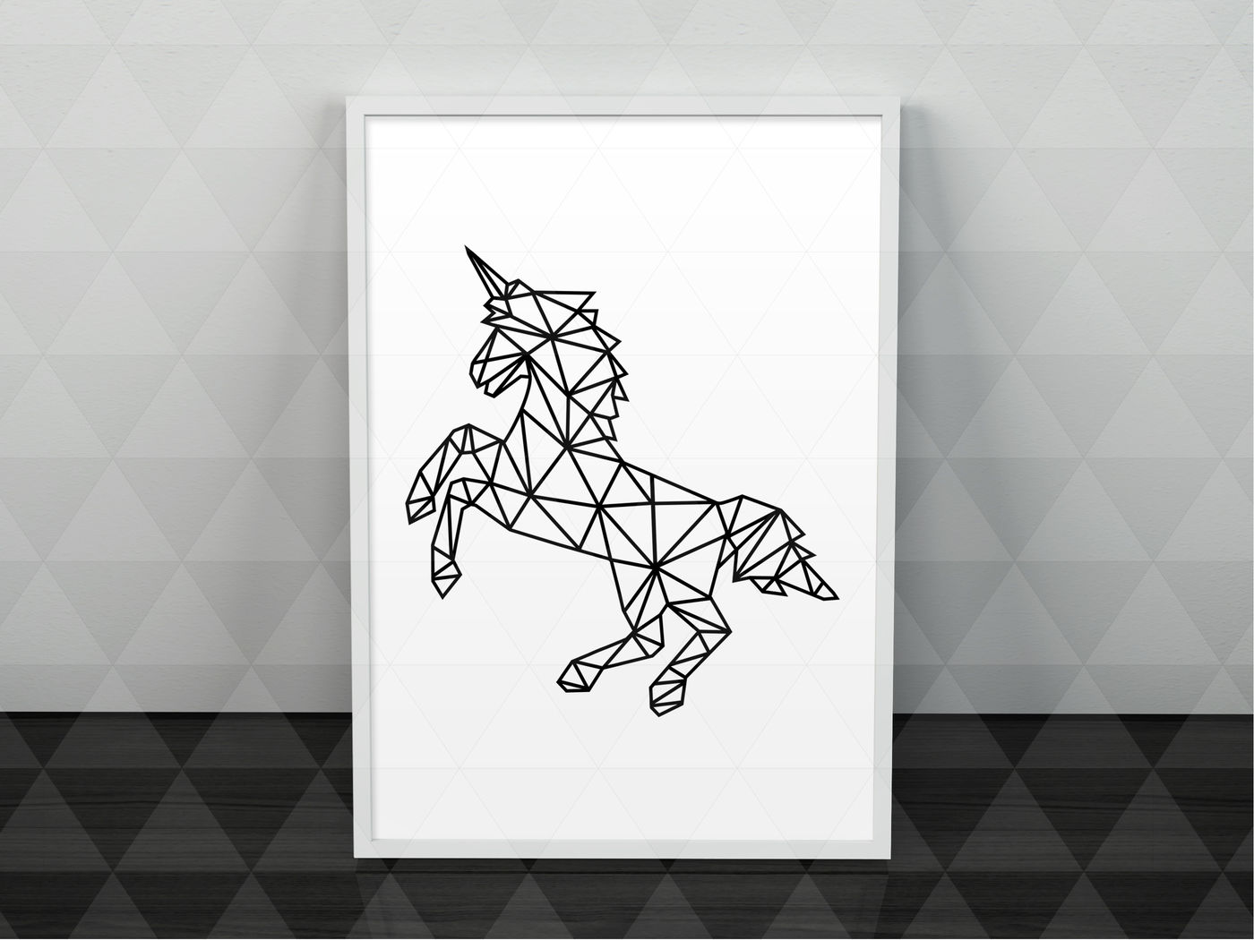Geometric Unicorn Svg Cutting File Kids Card Template Dxf Pdf
