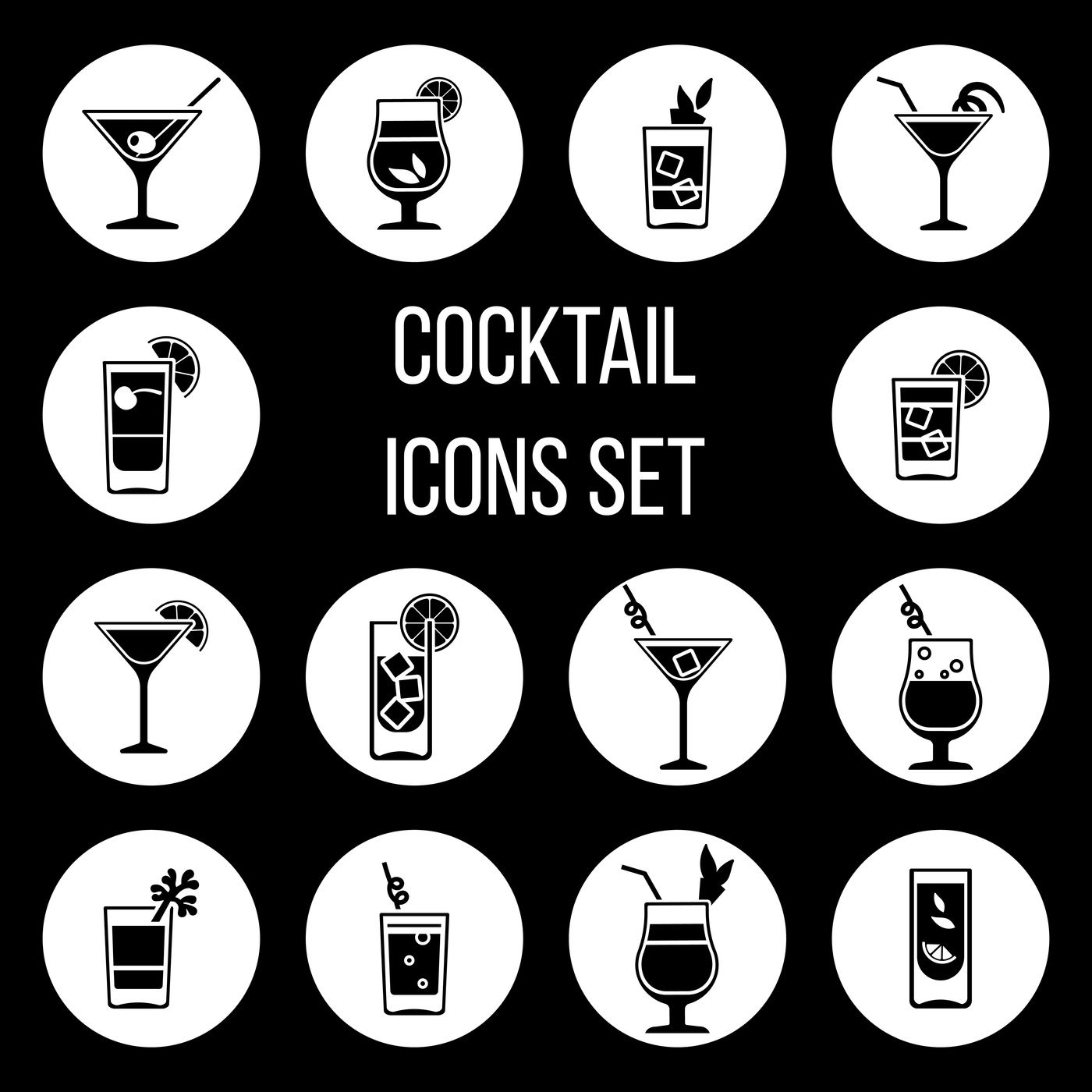 Cocktail Vector Icons Set In Black And White By Microvector