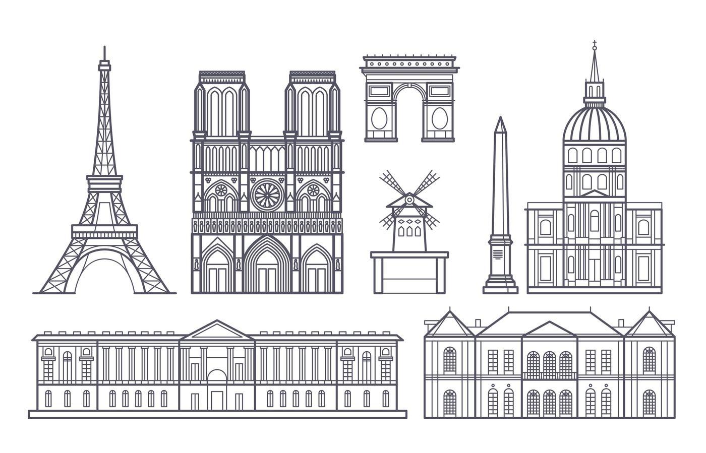 Outline Paris Landscape France Vector Landmarks Icons By