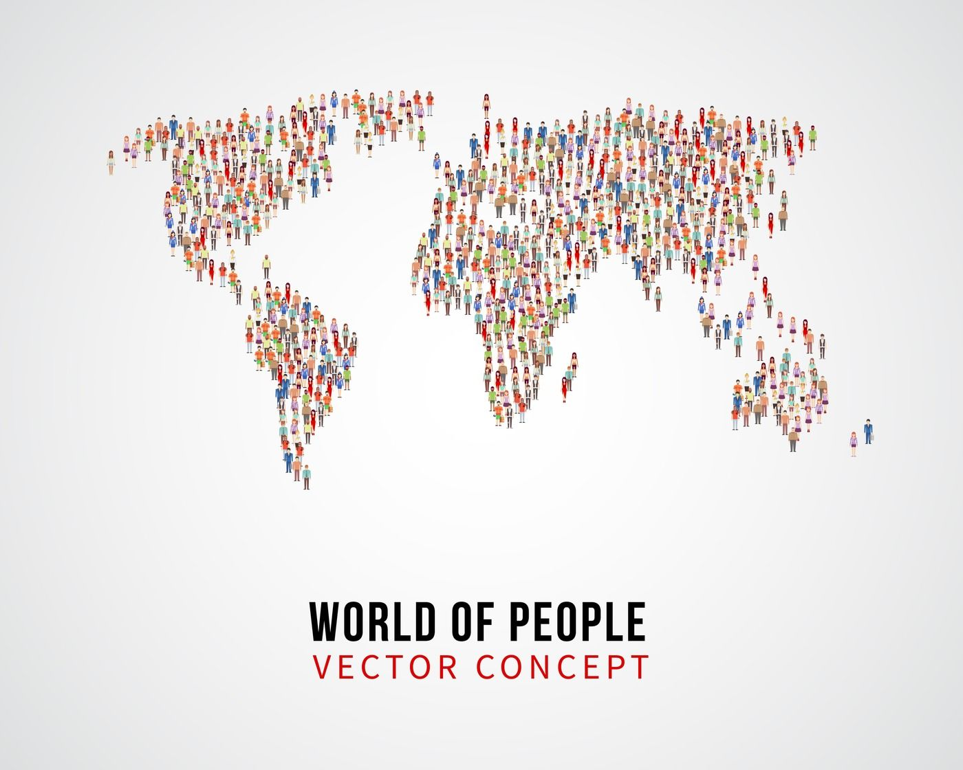 People Global Connection Earth Population On World Map Vector