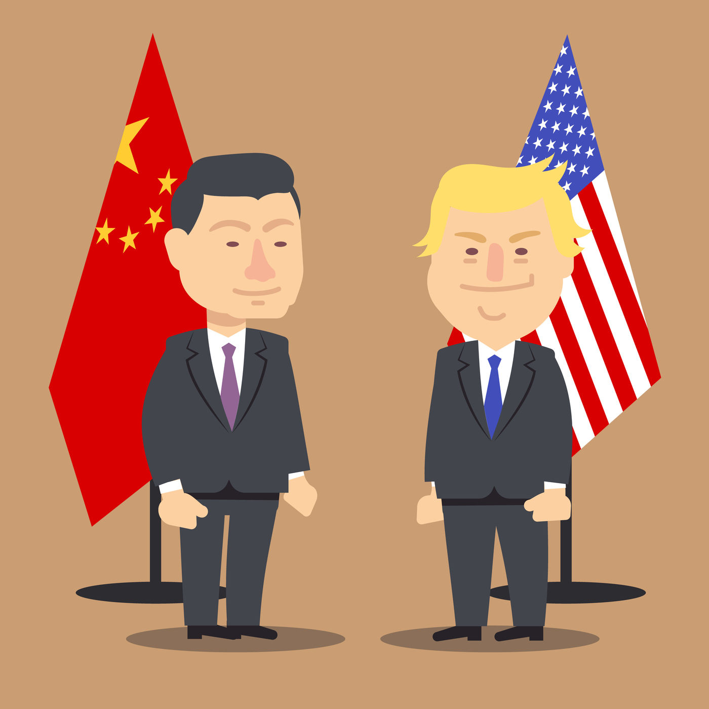 Xi Jinping And Donald Trump Standing Together With China And Usa
