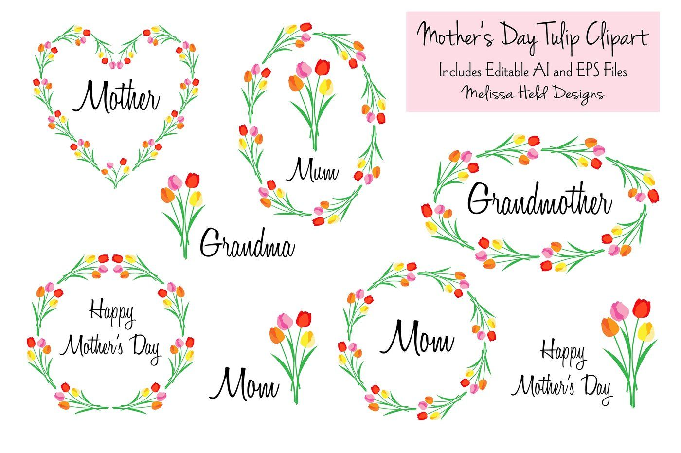 Mother S Day Tulip Clipart By Melissa Held Designs Thehungryjpeg Com