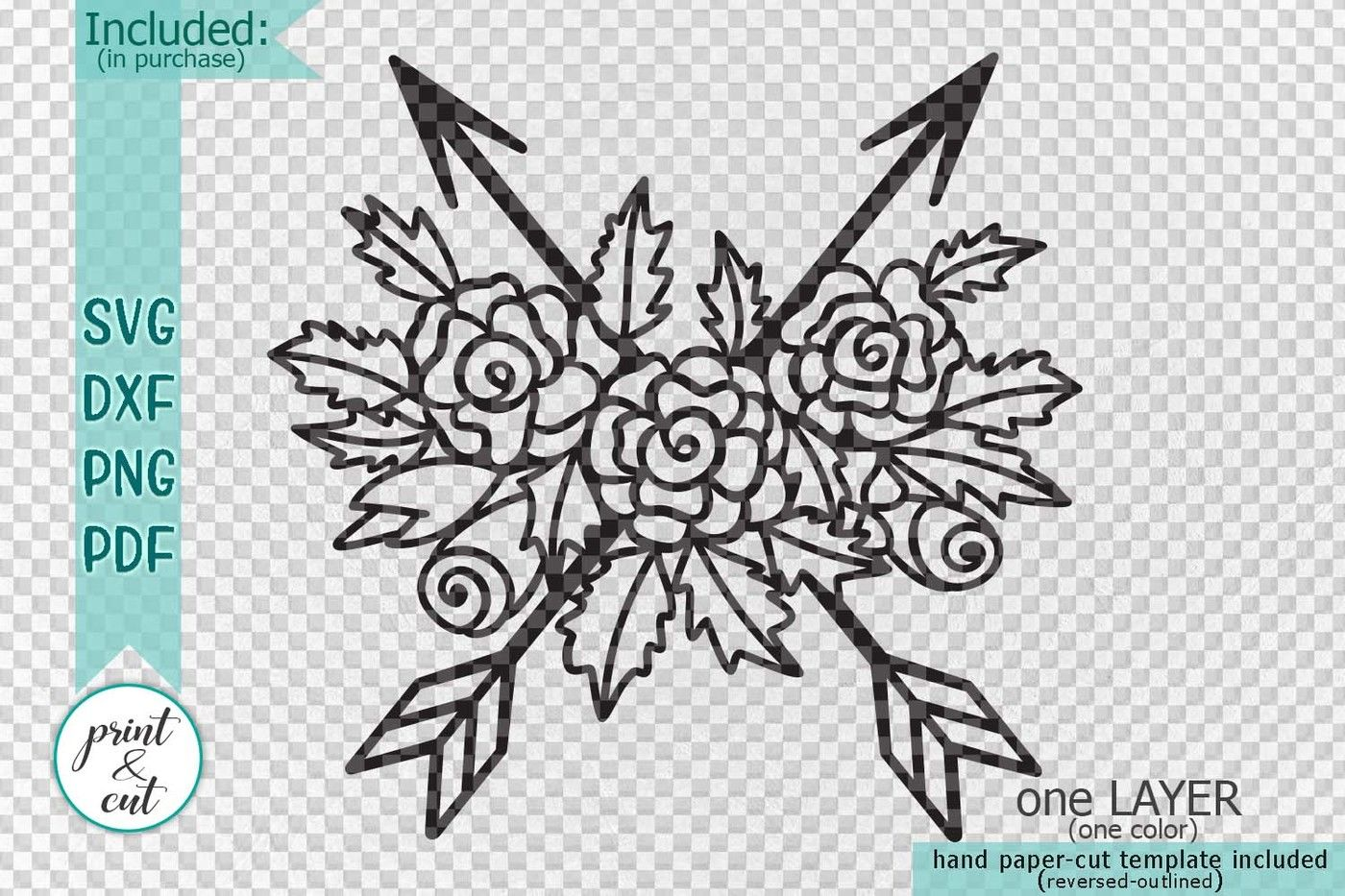 Arrows Cross With Flowers Svg Dxf Pdf Paper Vinyl Cut File By