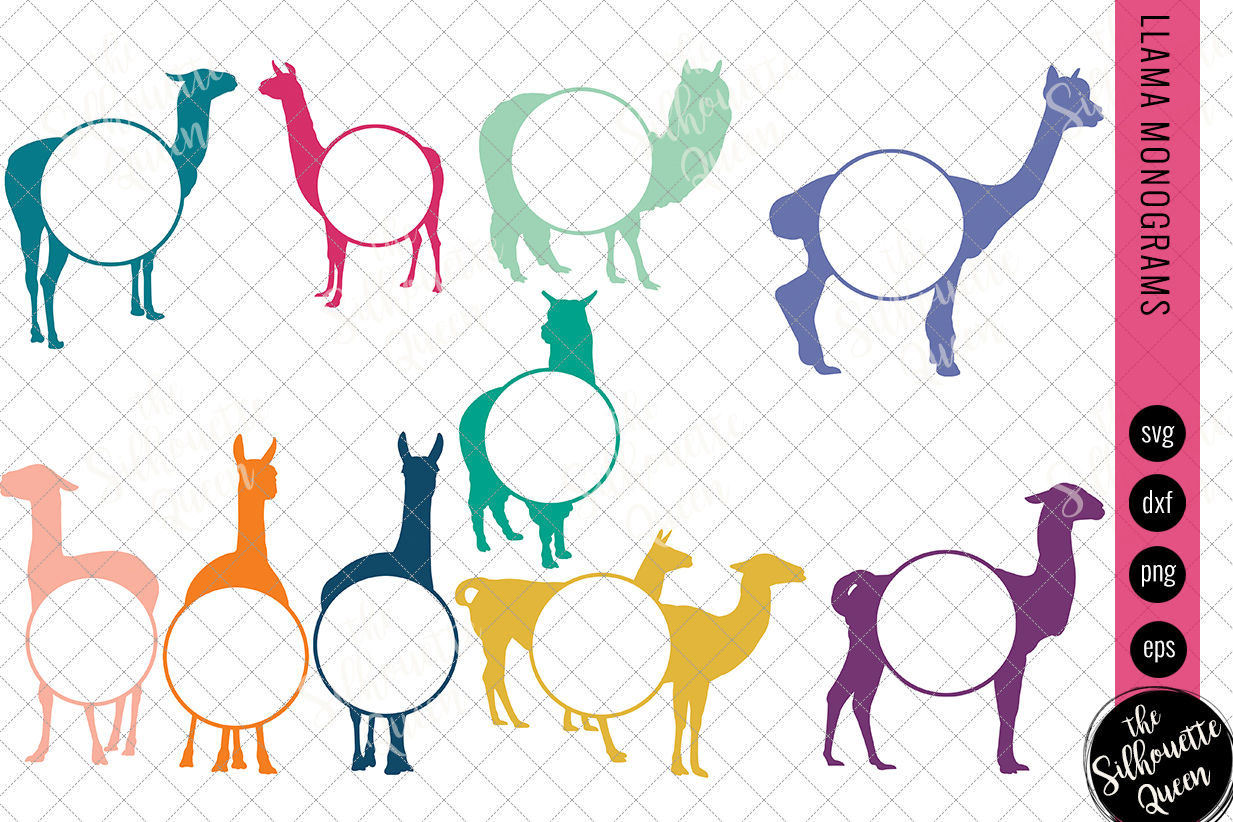 Llama Svg Monogram Svg Circle Frames Cuttable Design Cut Files