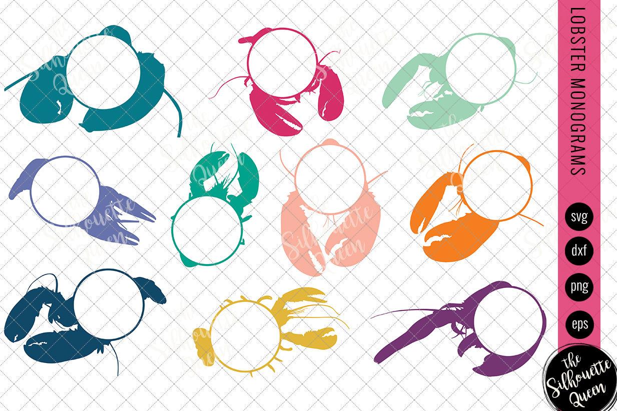 Lobster Svg Monogram Svg Circle Frames Cuttable Design Cut