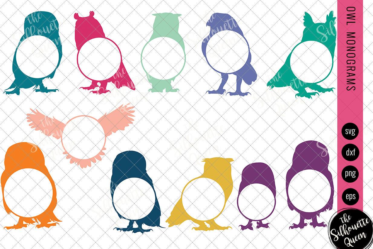 Owl Svg Monogram Svg Circle Frames Cuttable Design Cut Files