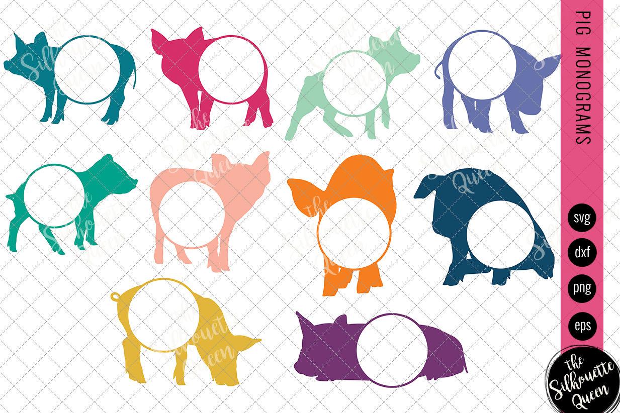 Pig Svg Monogram Svg Circle Frames Cuttable Design Cut Files