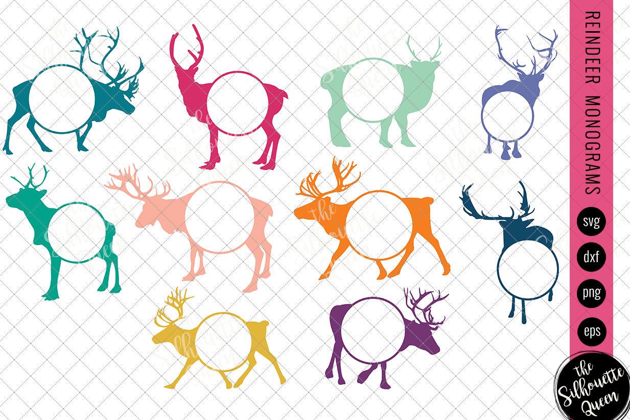 Reindeer Svg Monogram Svg Circle Frames Cuttable Design Cut