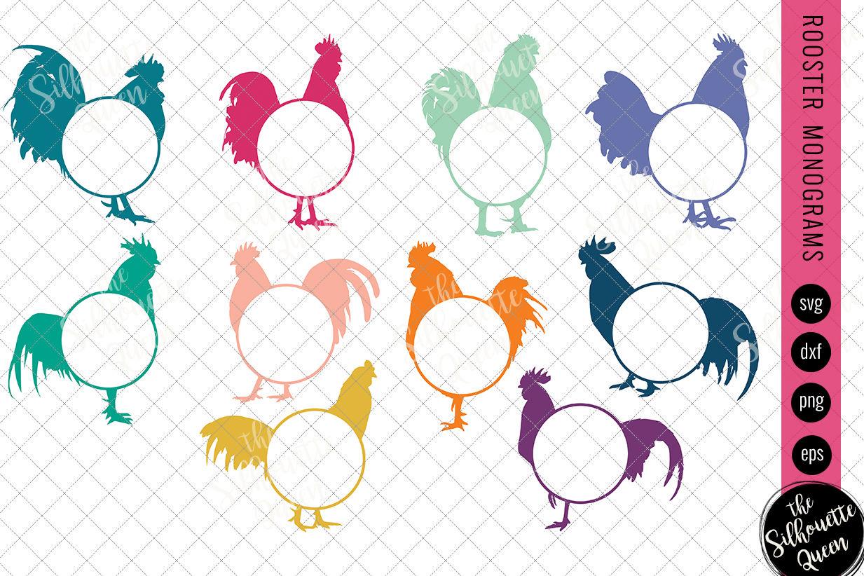 Rooster Svg Monogram Svg Chicken Circle Frames Cuttable Design