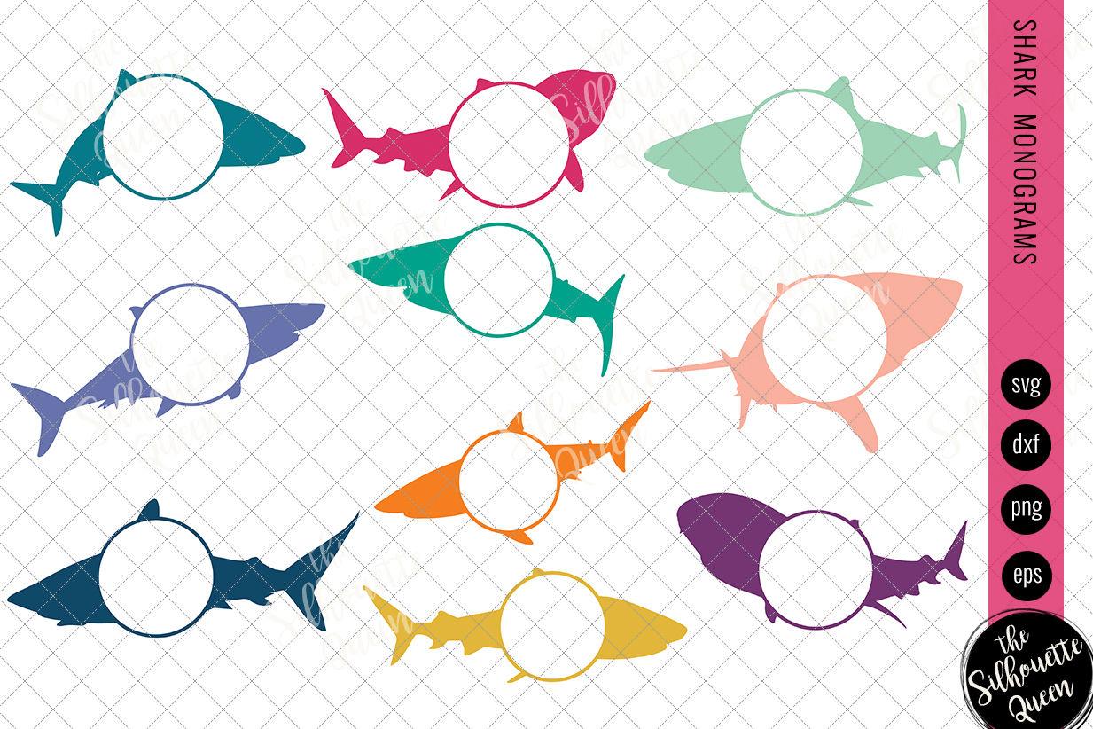 Shark Svg Monogram Svg Circle Frames Cuttable Design Cut Files