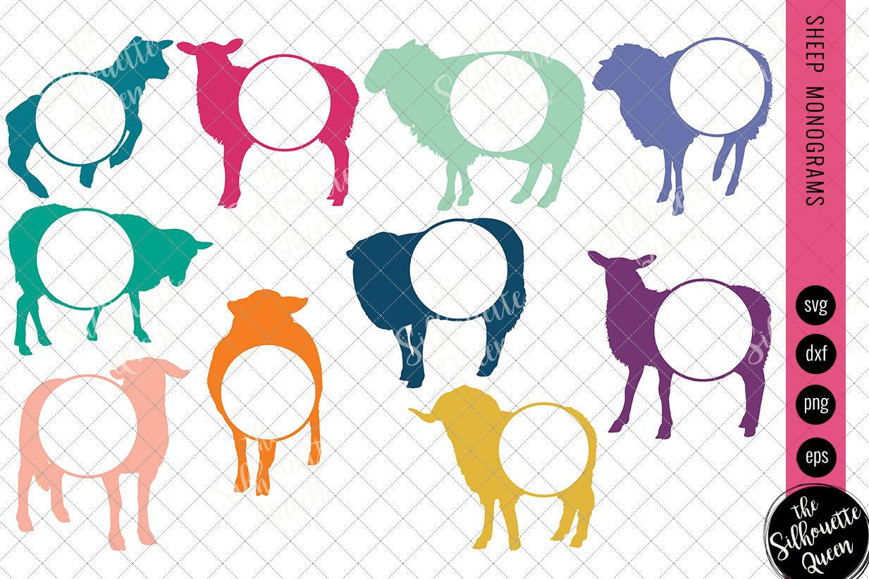 Sheep Svg Monogram Svg Circle Frames Cuttable Design Cut Files