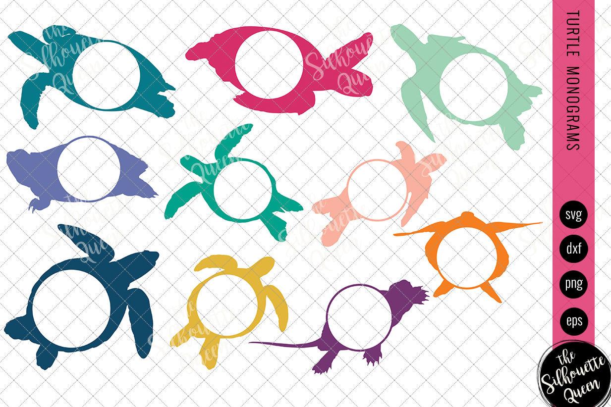 Turtle Svg Monogram Svg Circle Frames Cuttable Design Cut