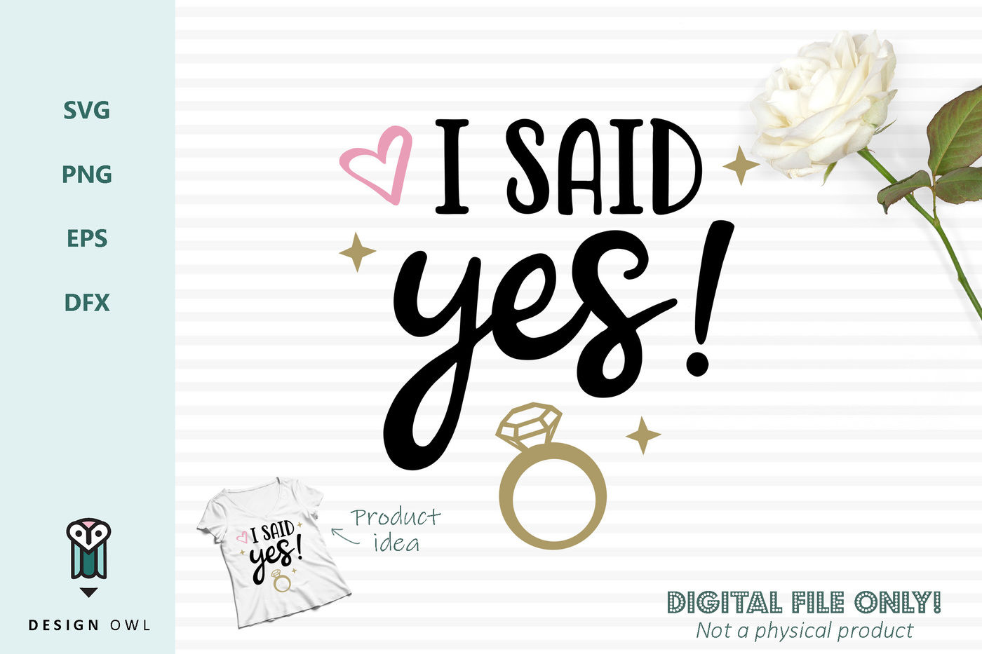 I Said Yes Svg File By Design Owl Thehungryjpeg Com
