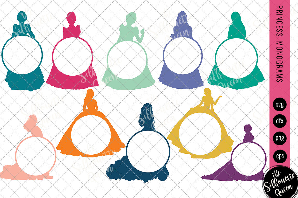 Princess Svg Princess Monogram Circle Frames Cuttable Design
