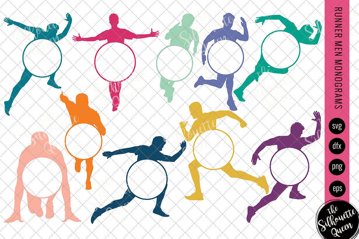 Runner Men Svg Monogram Circle Frames Cuttable Design Cut Files