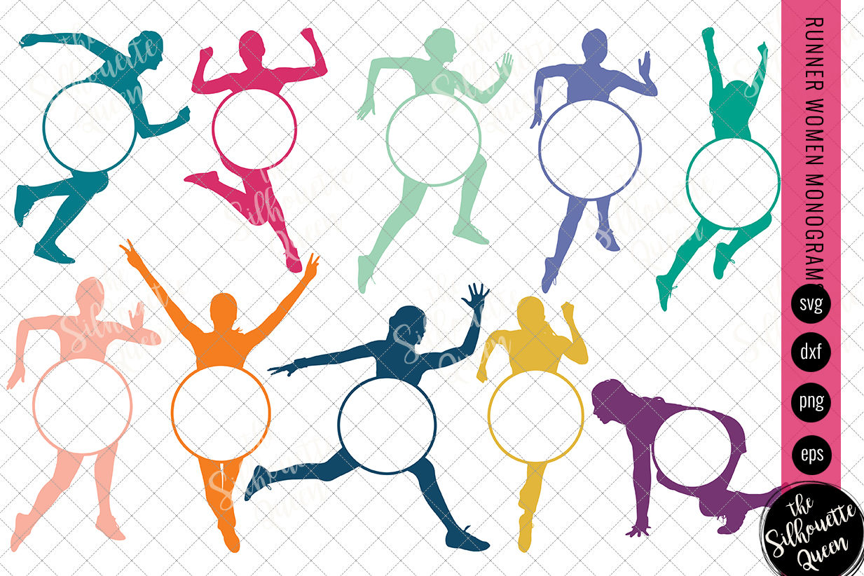 Runner Women Svg Monogram Circle Frames Cuttable Design Cut