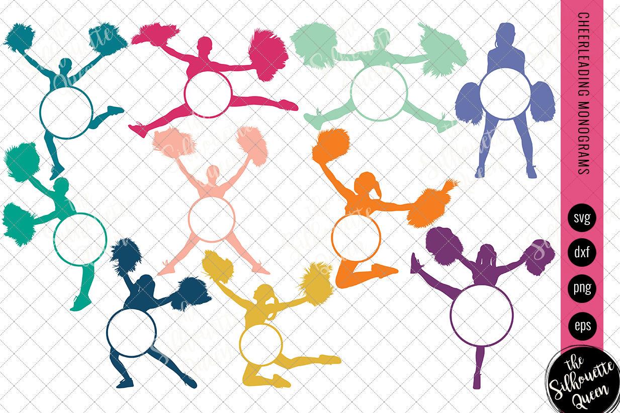 Cheerleader Svg Monogram Circle Frames Cuttable Design Cut