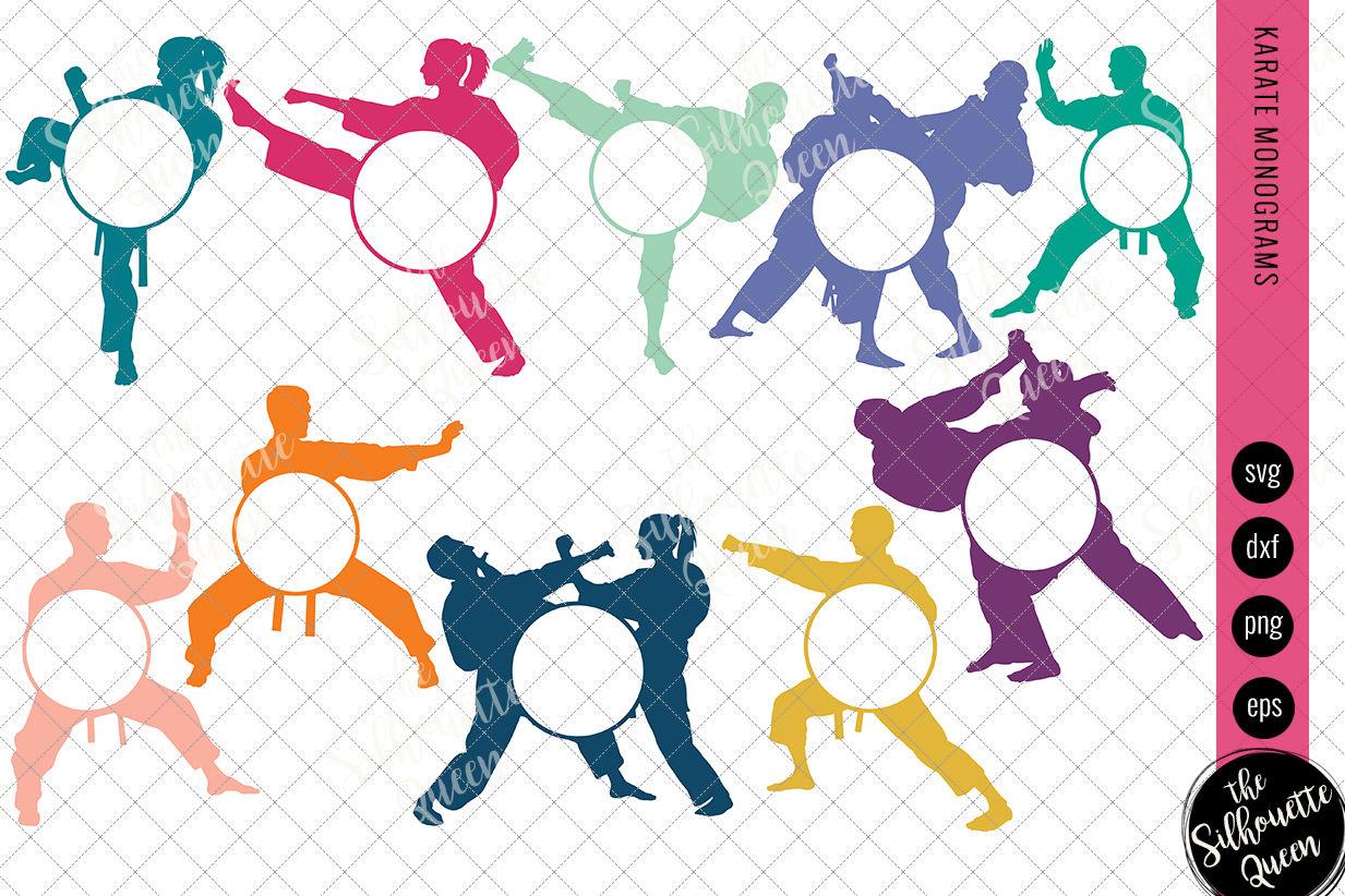 Karate Svg Karate Monogram Circle Frames Cuttable Design Cut