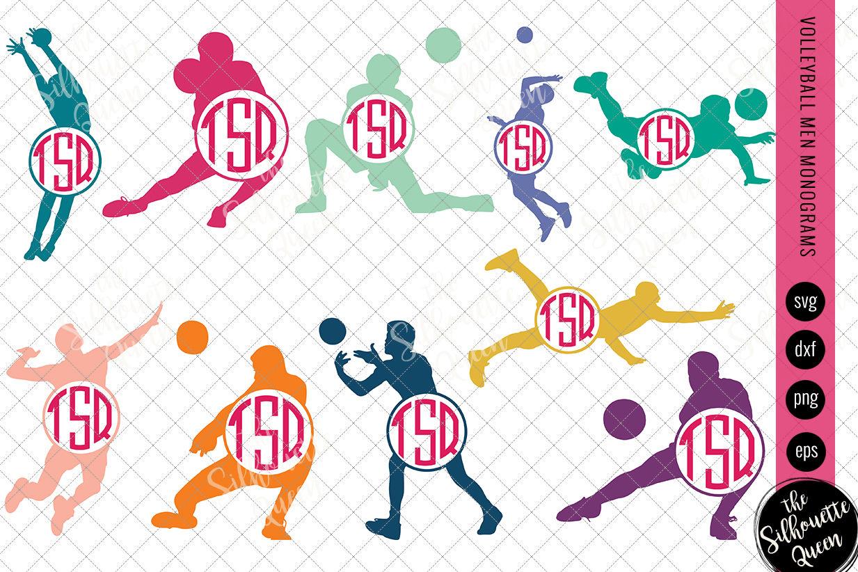 Volleyball Svg Monogram Circle Frames Cuttable Design Cut Files