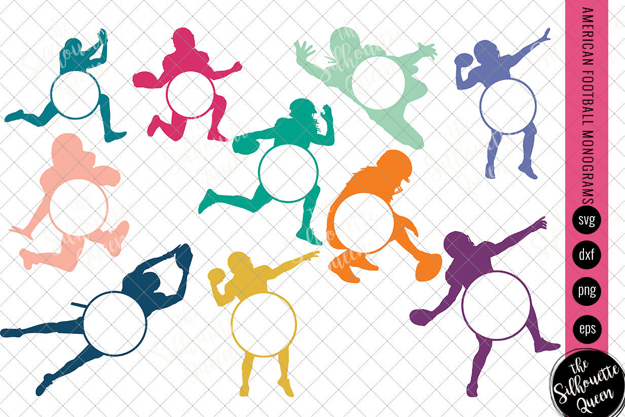 Football Svg Monogram Circle Frames Cuttable Design Cut Files