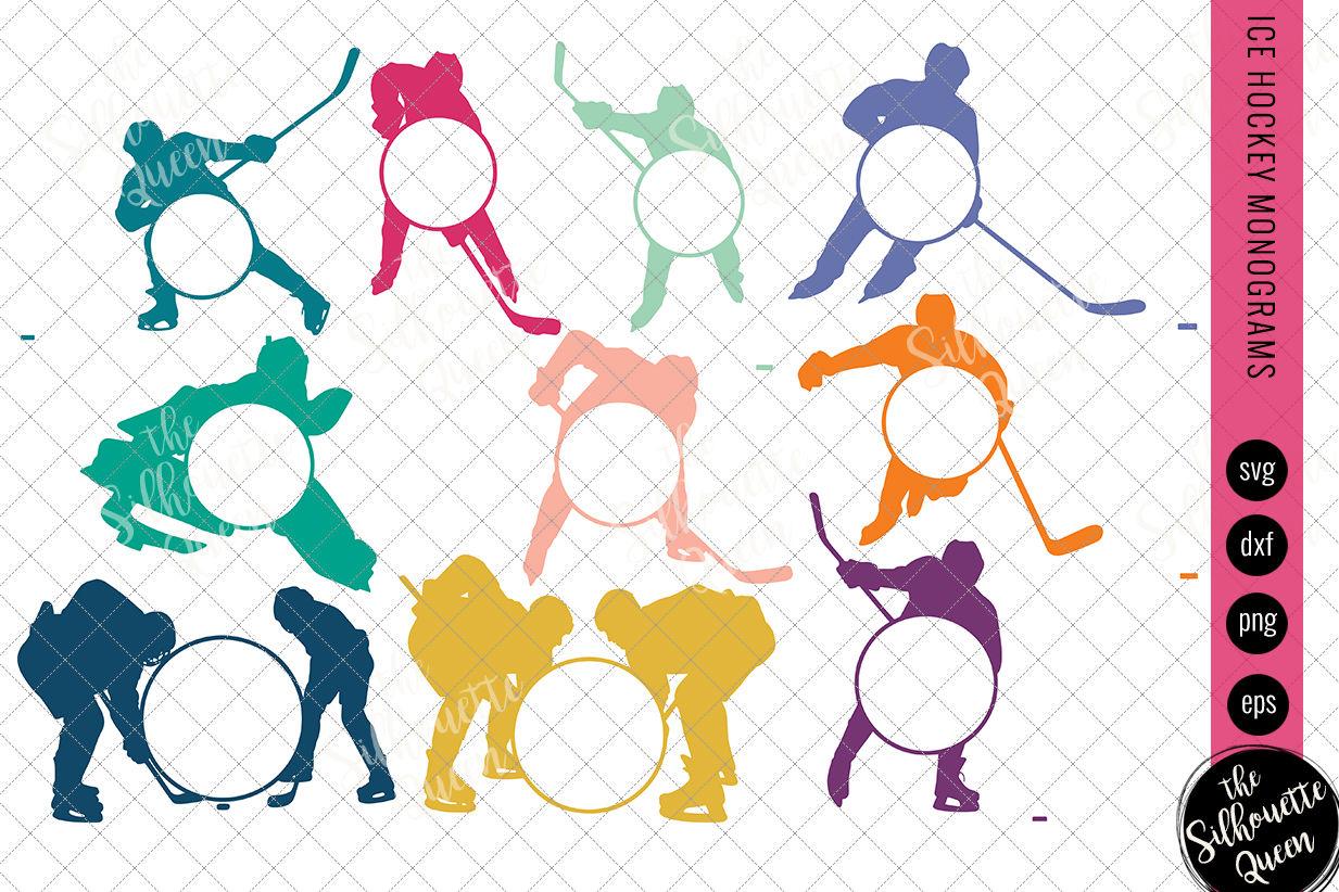 Ice Hockey Svg Monogram Circle Frames Cuttable Design Cut Files