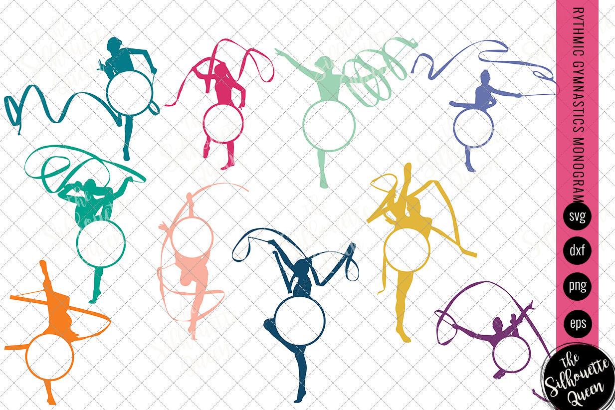 Gymnastics Svg Monogram Circle Frames Cuttable Design Cut Files