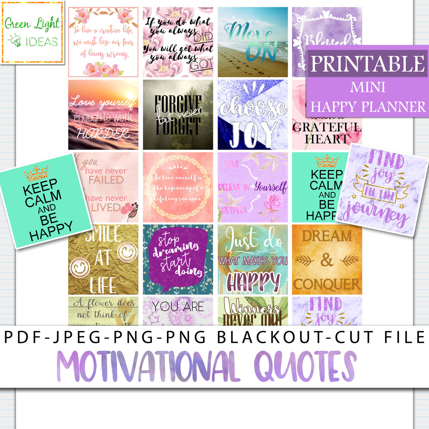 Motivational Quotes Mini Happy Planner Stickers By Green Light