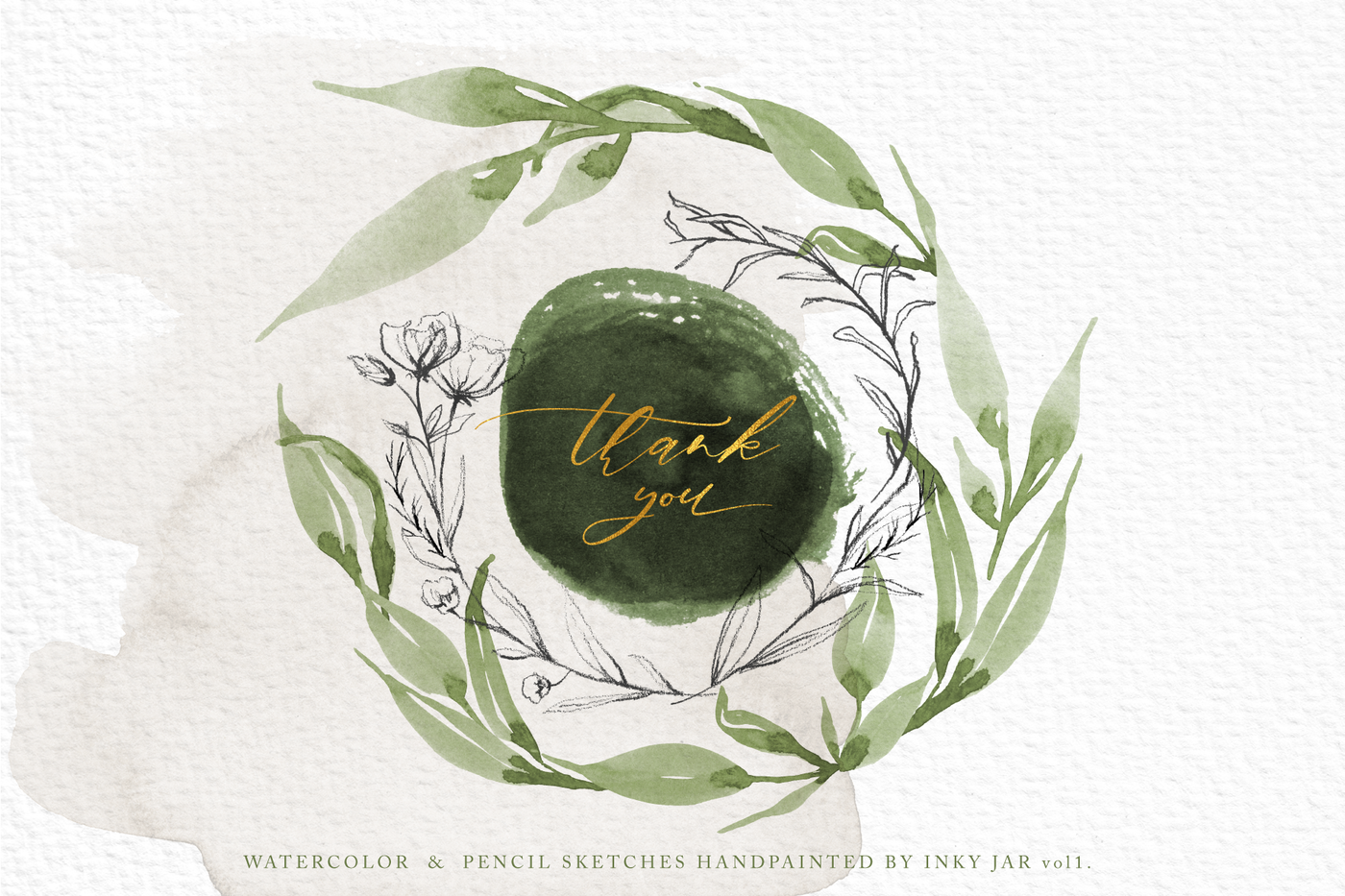 Delicate Greenery Watercolor Pencil Sketches By Inky Jar