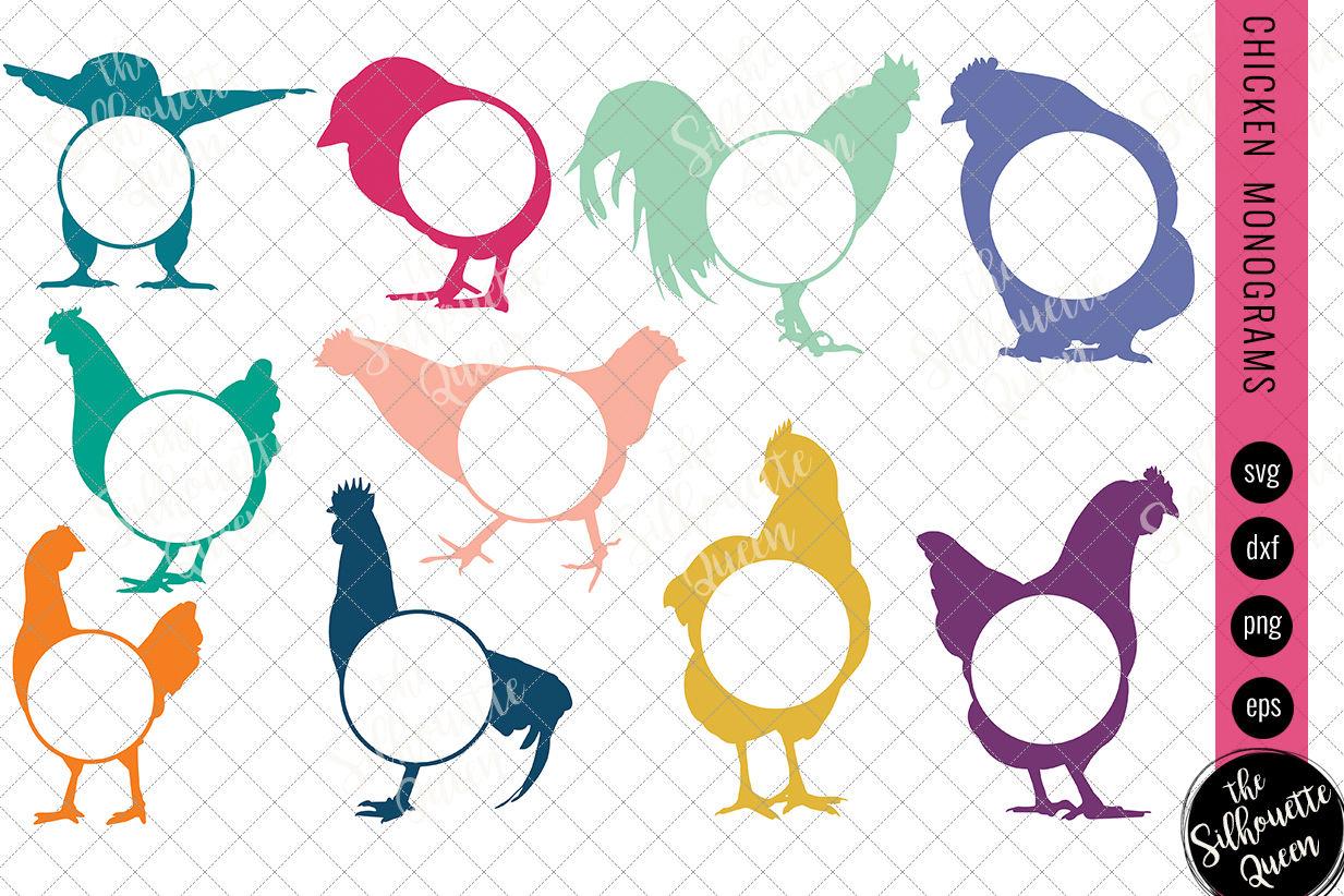 Chicken Svg Monogram Svg Circle Frames Cuttable Design Cut