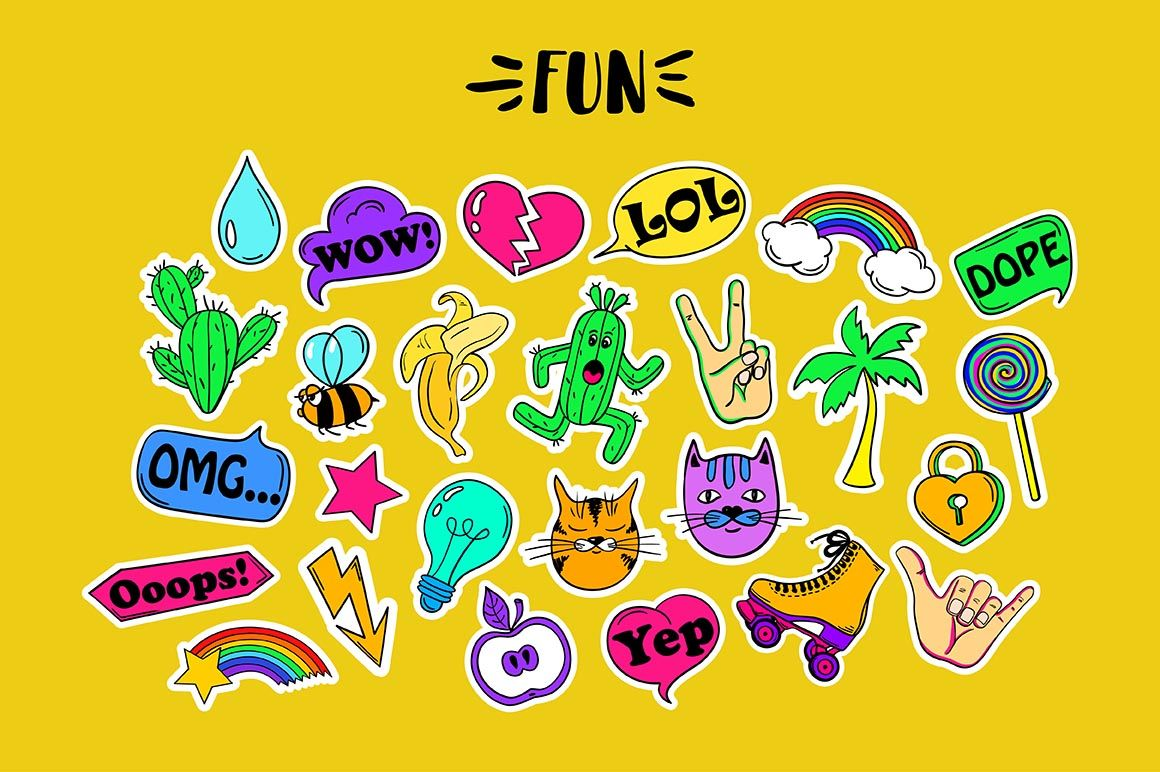 Funky Stickers By Annykos Thehungryjpeg Com