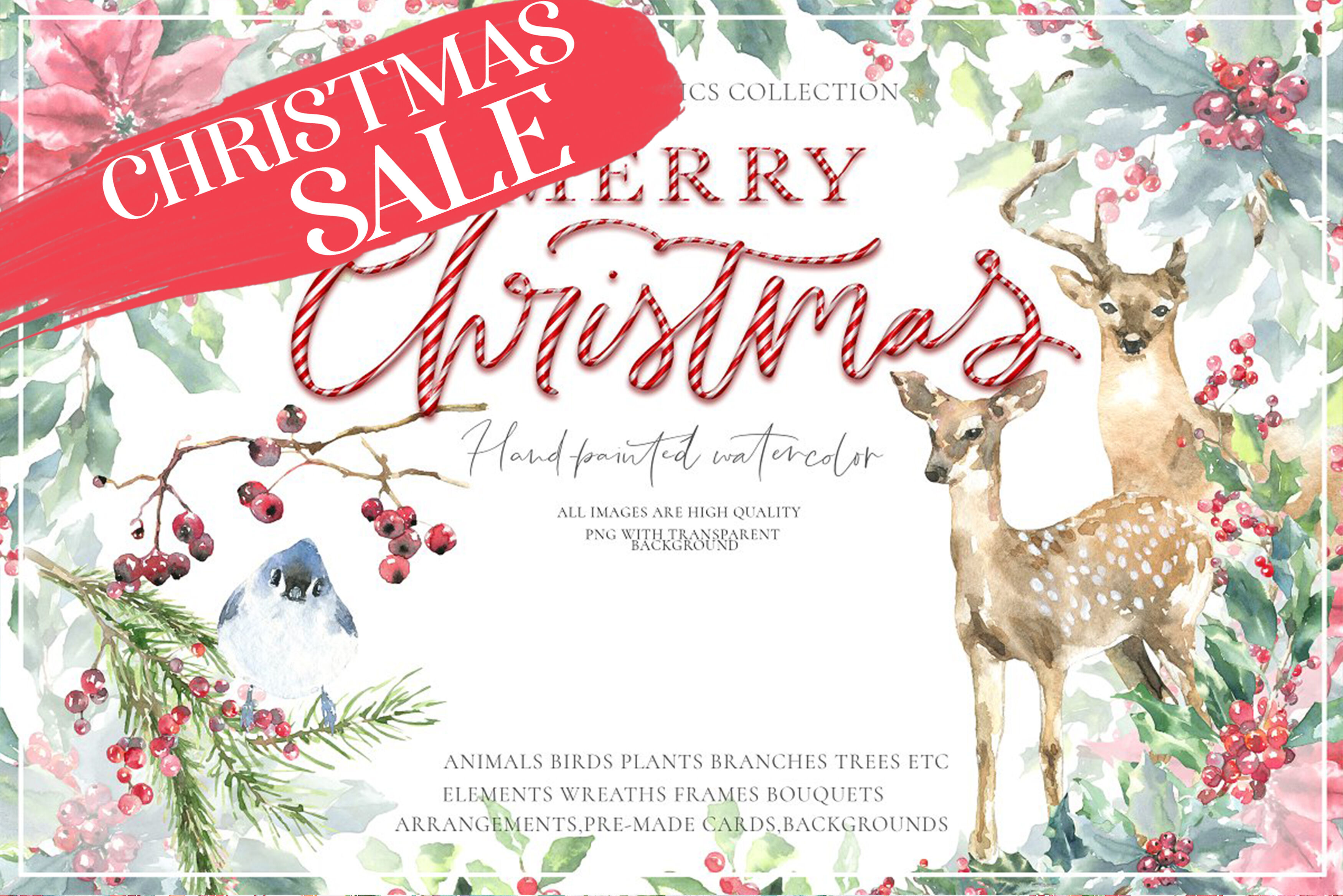 Merry Christmas Watercolor Graphics Clipart By Catherine Wheel