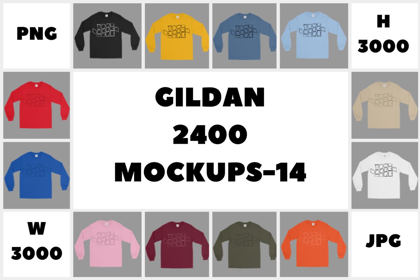 5510c0a9 MEGA BUNDLE Gildan 2400 Long Sleeve T-Shirt Mockups - 14 By ...