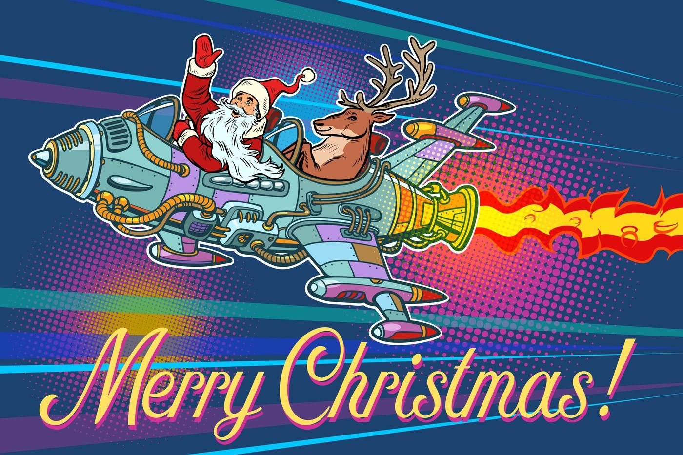Merry Christmas Retro Santa Claus With A Deer Flying On A Rocke