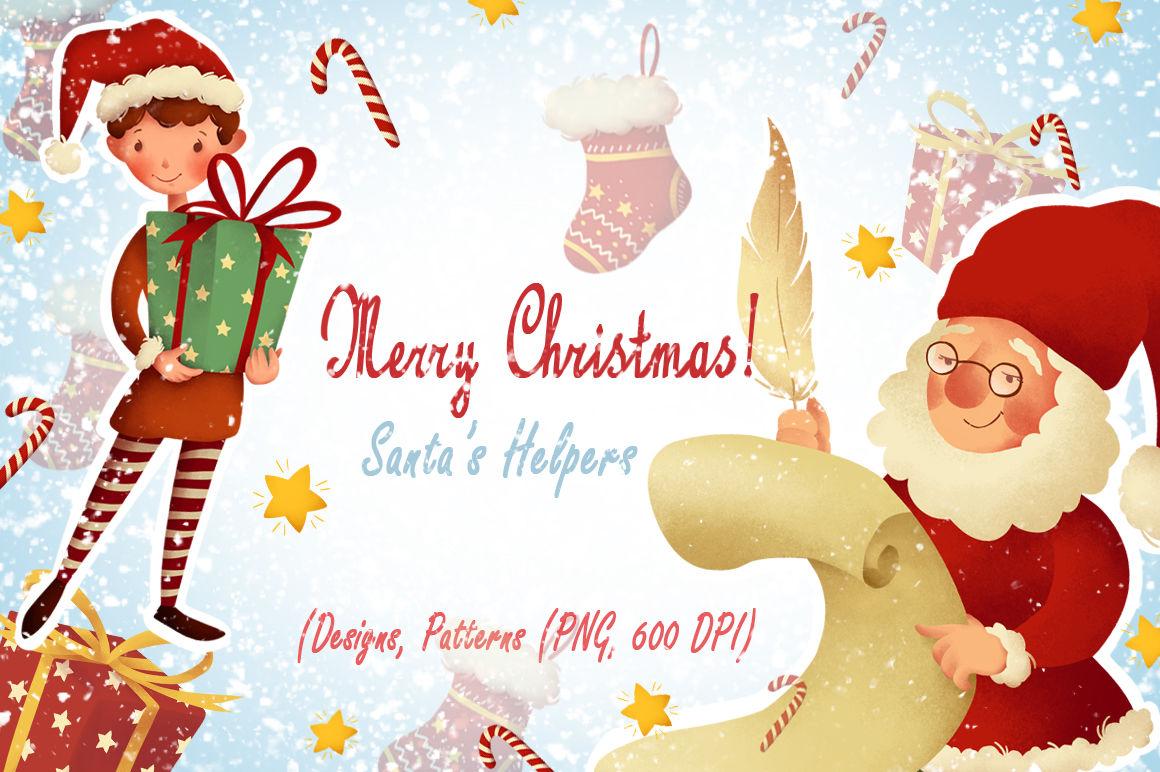 Merry Christmas Santa S Helpers By Daydreams Thehungryjpeg Com