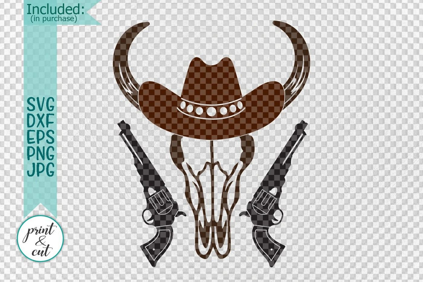 Bull Cowboy Hat With Guns Hunting Porch Sign Cut File Svg Dxf By